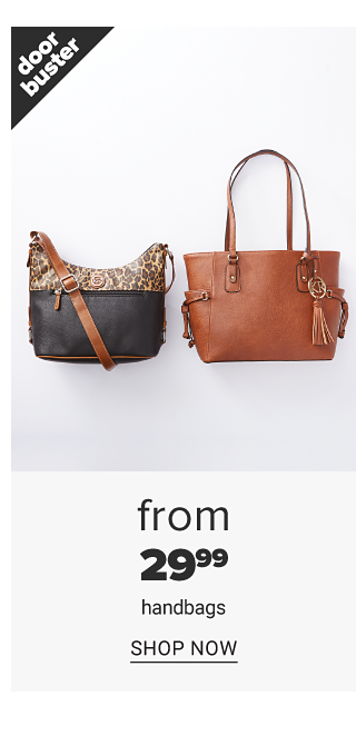 A black leather & leopard print colorblock handbag & a brown leather bucket tote. Doorbuster. From $29.99 handbags. Shop now.