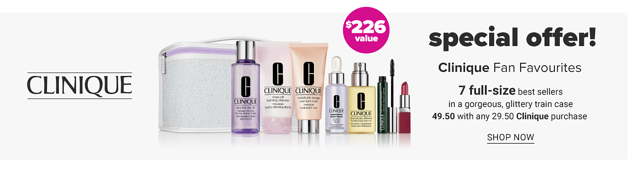 An assortment of beauty products & a makeup case. Special Offer. Clinique Fan Favorites. 7 full size best sellers in a gorgeous glittery train case. $49.50 with any $29.50 Clinique. A $226 value. Shop now.