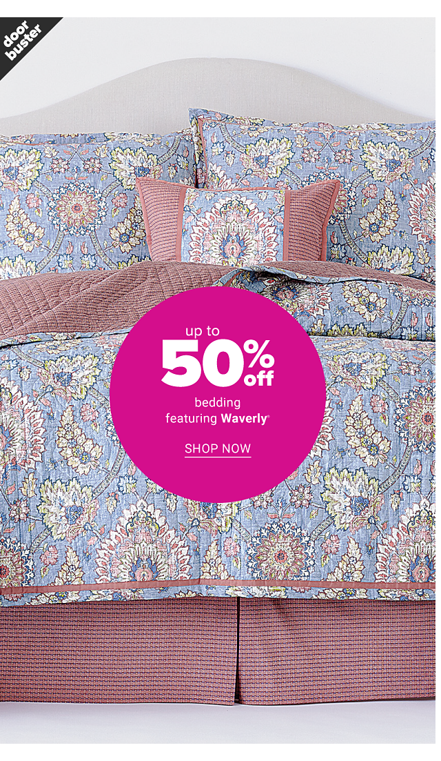 A bed made with a multi colored print comforter & matching pillows. Doorbuster. Up to 50% off bedding featuring Waverly. Shop now.
