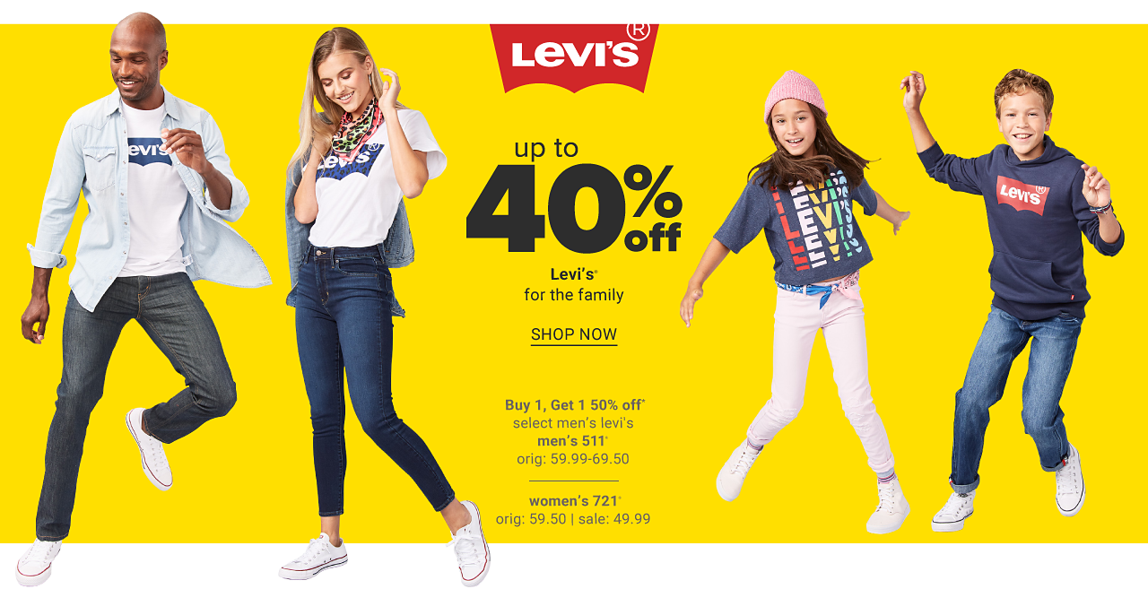 A man wearing a faded denim long sleeved button front shirt over a white T shirt with a navy Levi's front logo graphic, blue jeans & white sneakers. A young woman wearing a white T shirt with a navy Levi's front logo graphic, blue jeans & white sneakers. A girl wearing a pink winter hat, a gray long sleeved top with a multi colored Levi's front graphic, white pants & white sneakers. Up to 40% off Levi?s for the family. Buy 1, get 1 50% off select men?s 511 jeans. Originally $59.99 to $69.50. $35.70 women?s 721 jeans. Originally $59.50. Sale $35.70. Shop now.