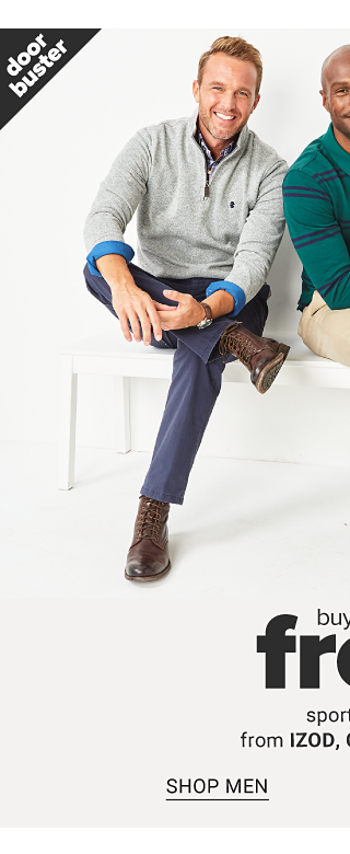 A man wearing a gray fleece over a plaid shirt, blue pants & brown leather shoes sitting next to a man wearing a green & nevy horizontal striped long sleeved shirt, beige pants & brown leather shoes. Doorbuster. Buy 1, Get 2 Free sportswear from Izod, Chaps & more. Shop men.