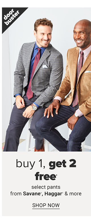 A man wearing a black & white houndstooth sport coat, blue dress shirt, burgundy tie & dark gray pants sitting next to a man wearing a beige sport coat, white dress shirt, burgundy tie & blue jeans & a man wearing a navy velvet sport coat, white dress shirt & blue jeans. Doorbuster. Buy 1, Get 2 Free select pants from Savane, Haggar & more. Shop now.