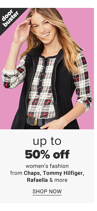 A woman wearing a black vest over a black, white & red plaid henley top & black pants. Doorbuster. Up to 50% off women's fashion from Chaps, Tommy Hilfiger, Rafaella & more. Shop now.