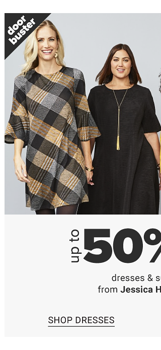 A woman wearing black, gray & brown plaid long sleeved dress over black leggings standing next to a woman wearing a black short sleeved dress, a woman wearing a gold blazer over a gold dress & a woman wearing a grey & gold grid pattern jacket over a gold blouse & black pants. Doorbuster. Up to 50% off dresses & suit separates from Jessica Howard & Kasper. Shop dresses.