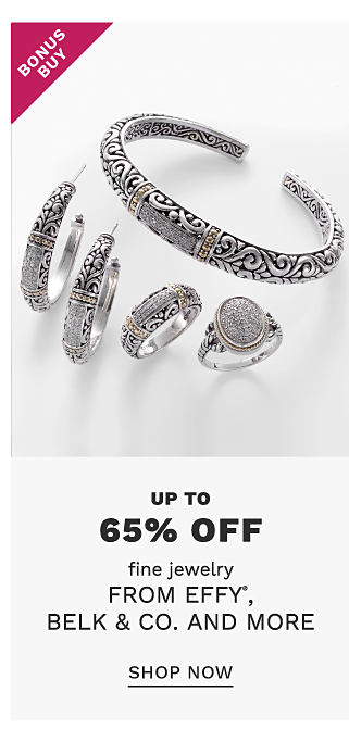 An assortment of silver rings & earrings. Bonus Buy. Up to 65% off fine jewelry from Effy, Belk & Co & more. Shop now.
