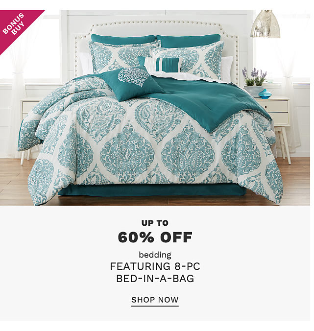 A bed made with a teal & white patterned print comforter & matching pillows. Bonus Buy. Up to 60% off 8 piece bed in a bag sets. Shop now.