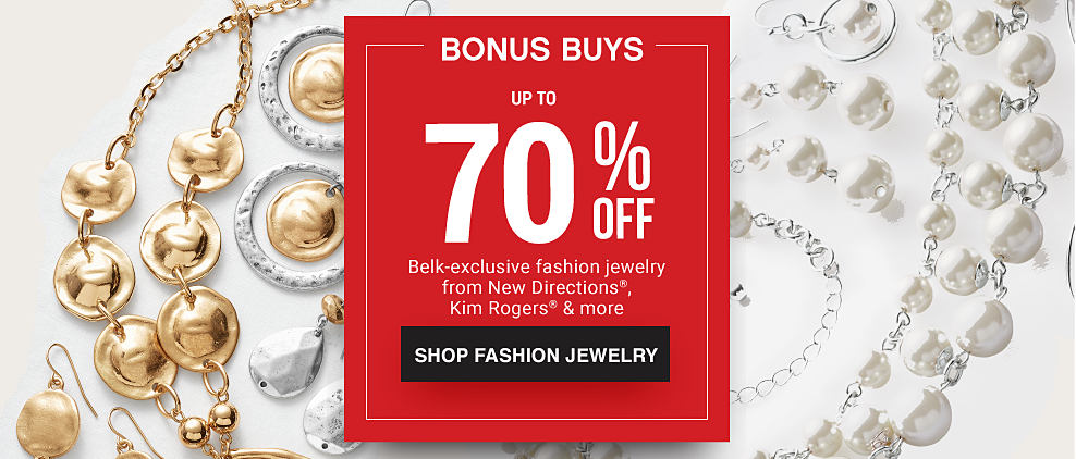 An assortment of fashion jewelry necklaces & earrings. Bonus Buys. Up to 50% off fashion jewelry from New Directions, Kim Rogers & more. shop now.