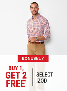 A man wearing a multi-colored plaid button-front shirt & beige denims. Bonus Buy. Buy 1, Get 2 Free1 select IZOD. Free items must be of equal or lesser value. Shop now.