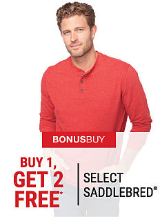 A man wearing a red henley shirt. Bonus Buy. Buy 1, Get 2 Free select Saddlebred. Free items must be of equal or lesser value. Shop now.