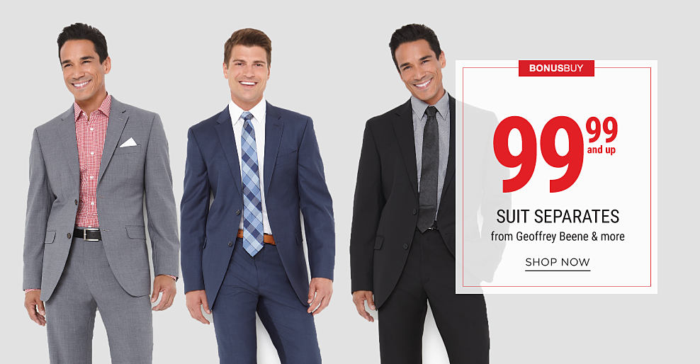 A man wearing a gray suit & a red & white check dress shirt. A man wearing a navy suit, white dress shirt & a multi-colored plaid tie. A man wearing a black suit, gray dress shirt & a black tie. Bonus Buy. 99.98 suit separates from Geoffrey Beene & more. Shop now.
