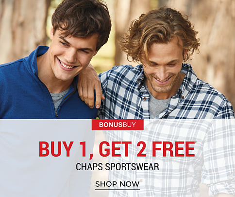 A young man wearing a blue fleece & a gray T-shirt standing next to a young man wearing a blue & white plaid button-front shirt. Bonus Buy. Up to 60% off Chaps sportswear. Shop now.