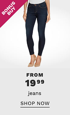 a woman wearing a white T shirt, blue jeans & beige heels. Bonus Buy. From $19.99 jeans. Shop now.