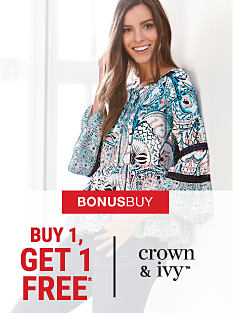 A woman wearing a multi-colored print top. Bonus Buy. Buy 1, Get 1 Free Crown & Ivy. Free item must be of equal or lesser value. Shop now.