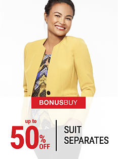 A woman wearing a yellow blazer & a multi-colored print blouse. Bonus Buy. Up to 50% off suit separates. Shop now.