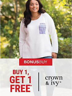 A woman wearing a white sweater with a blue pocket. Bonus Buy. Buy 1, Get 1 Free* Crown & Ivy. Free item must be of equal or lesser value. Shop now.