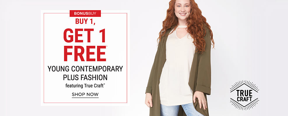 A young woman wearing an oversized olive green sweater, a white top, brown sandals & distressed blue jeans with floral embroidery detail Bonus Buy. Buy 1, Get 1 Free young contemporary featuring True Craft. Free item must be of equal or lesser value. Shop now