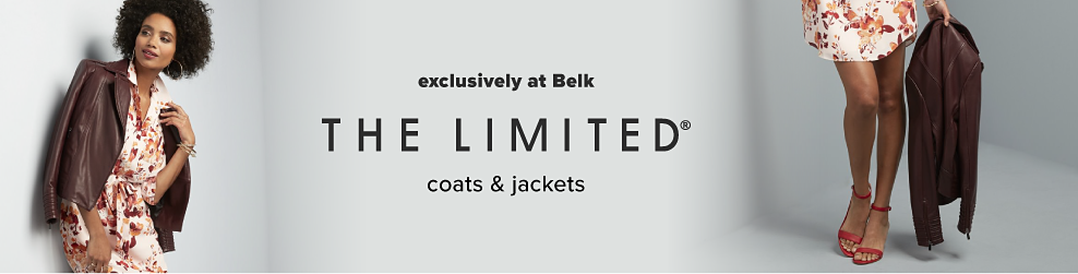 A woman wearing a brown leather jacket over a multi colored floral print dress. The Limited coats & jackets. Exclusively at Belk.
