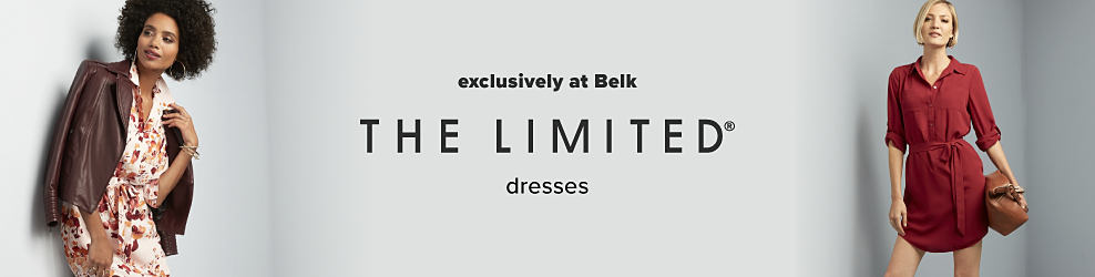 A woman wearing a brown leather jacket over a multi colored floral print dress. A woman wearing a burgundy long sleeved dress. The Limited dresses. Exclusively at Belk.