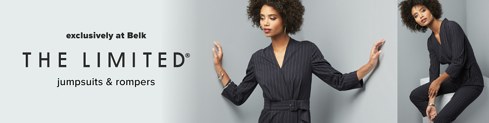 A woman wearing a black long sleeved jumpsuit. The Limited jumpsuits & rompers. Exclusively at Belk.
