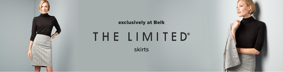 A woman wearing a black turtleneck sweater & gray skirt. The Limited skirts. Exclusively at Belk.