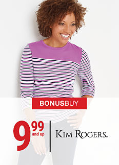 A woman wearing a burgunday & white print patterned long-sleeved top. Bonus Buy. 9.99 & up Kim Rogers. Shop now.