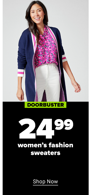 A woman with a long navy blue cardigan with hot pink and white vertical stripes on the end of the sleeves and down the front. The inside of the caridgan is hot pink. She is wearing a pink blouse with navy flowers tucked into white jeans. Doorbuster. $24.99 women's fashion sweaters. Shop now.