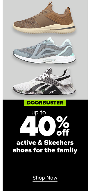 A set of three athletic sneakers, one brown and beige, one teal, grey, and white, and the last black, grey, and white. Doorbuster up to 40% off active and Skechers shoes for the family. Shop now.