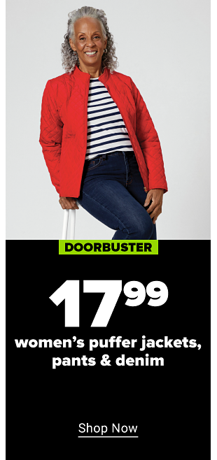 A woman with a red long sleeve shirt, jeans,, & a plaid green and red vest. Doorbuster. $17.99 women's puffer jackets, pants, and denim. Plus sizes at $19.99. Shop now.