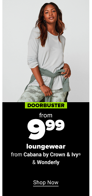 Women in a white long sleeve tee, a light green jacket tied around her waist, and light green and grey marble pattern leggings. Doorbuster. 70% off Belk-exclusive loungewear. Shop now.
