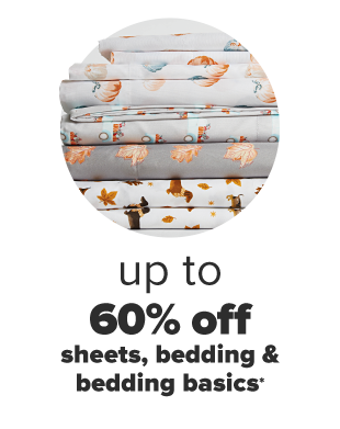 A stack of folded harvest themed sheets. Up to 60% off sheets, bedding and bedding basics.
