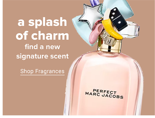 A glass bottle of perfume in blush pink with a decorative top. Perfect Marc Jacobs. A splash of charm. Find a new signature scent. Shop fragrances.