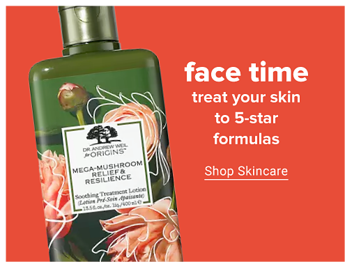 A green bottle of Origins Mega-Mushroom Relief and Resilience lotion. Face time, treat your skin to five-star formulas. Shop skincare.