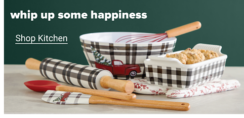 An assortment of holiday bakeware: a gingham rolling pin, a mixing bowl featuring a red truck carrying a Christmas tree, a red whisk, a ceramic gingham loaf pan, a red and white oven mitt and two silicone utensils. Whip up some happiness. Shop kitchen.