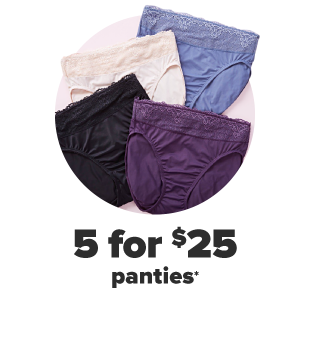 A collection of panties in a variety of colors. 5 for $25 panties.