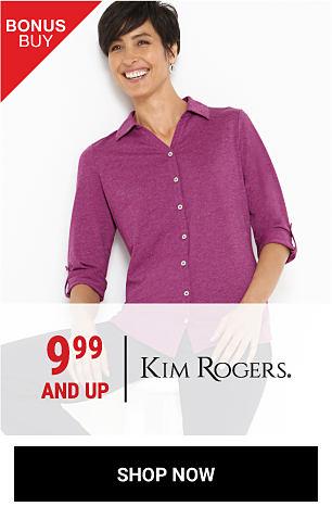 A woman wearing a purple button-front blouse. Bonus Buy. 9.99 & up Kim Rogers. Shop now.