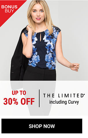 A woman wearing a black, blue & white floral print sleeveless top with a black jacket slung over her shoulder. Bonus Buy. Up to 30% off The Limited. Shop now.