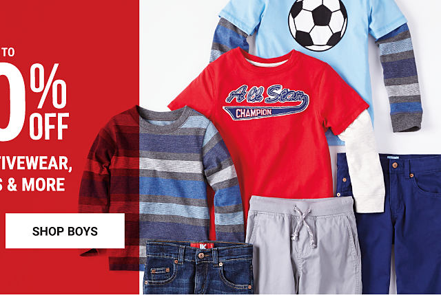 An assortment og boys' fall fashion. Up to 50% off kids' activewear, dresses & more. Shop boys.