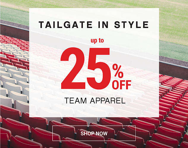 Empty red & white seats in a stadium. Tailgate in style. Up to 25% off team apparel. Shop fan gear.
