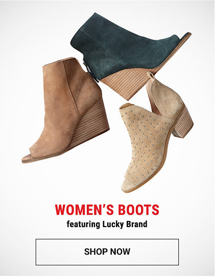 An assortment of women's suede boots. Women's boots featuring Lucky Brand. Shop now.