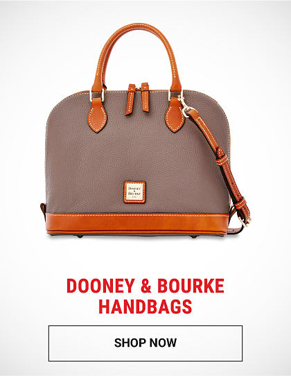 A beige leather handbag with brown leather trim. Dooney & Bourke handbags. Shop now.