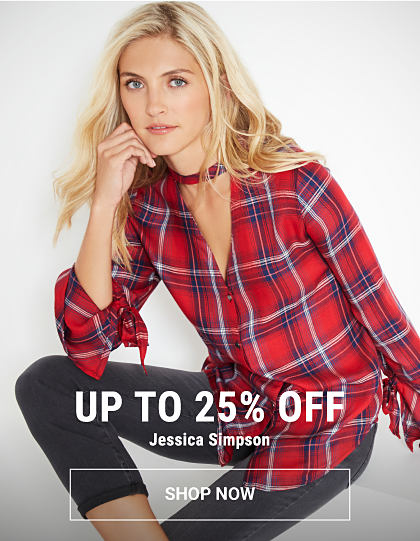A woman wearing a red, blue & white plaid button-front blouse & black jeans. Up to 25% off Jessica Simpson. Shop now.