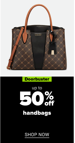 A brown and black handbag. Doorbuster. Up to 50% off handbags. Shop now.