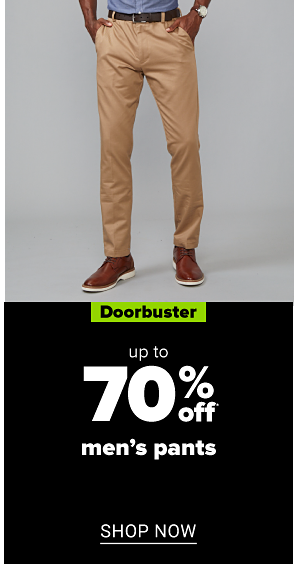 A man in khaki pants, brown shoes and brown belt. Doorbuster. Up to 70% off men's pants. Shop now.