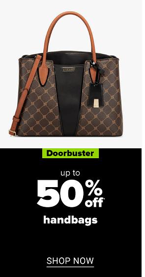 A brown and black handbag. Doorbuster. Up to 50% off handbags. Shop now.