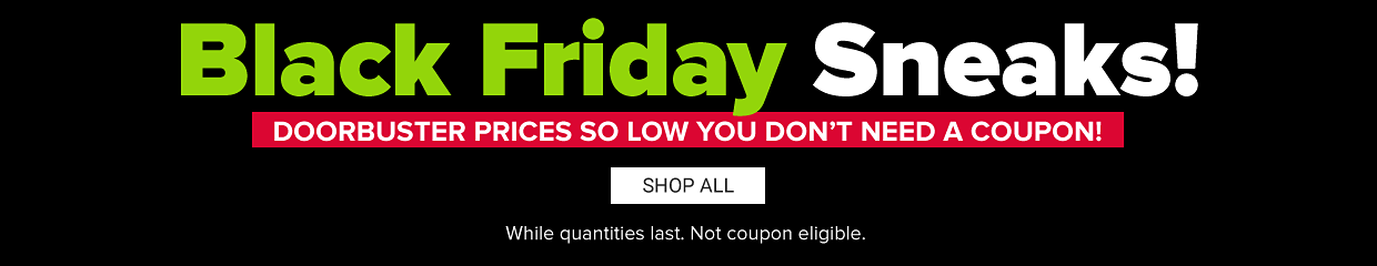 Black Friday sneaks. Doorbuster prices so low you don't need a coupon. Shop all. While quantities last. Not coupon eligible.