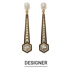Long ornate earrings. Shop designer earrings.