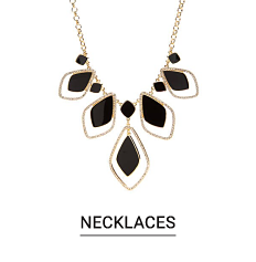 A black, white & gold tone chain necklace. Shop fashion jewelry necklaces.