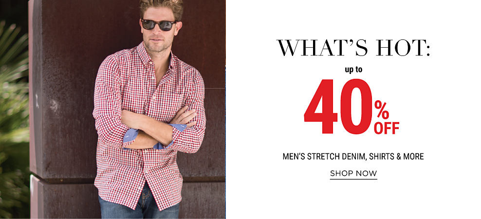 A man wearing sunglasses, a red & white plaid button-front shirt & blue jeans. What's Hot:. 40% off men's stretch denim, shirts & more. Shop now.