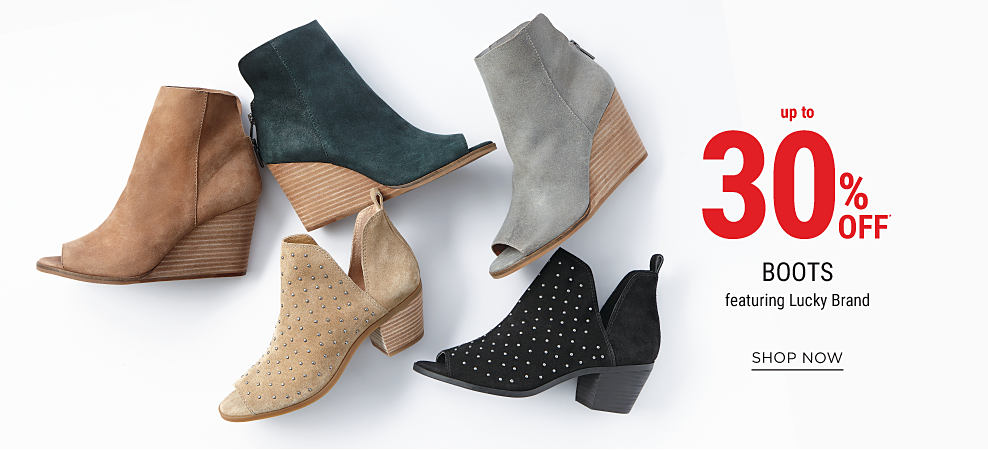 An assortment of women's boots in a variety of colors & styles. Up to 25% off boots featuring Lucky Brand. Shop now.