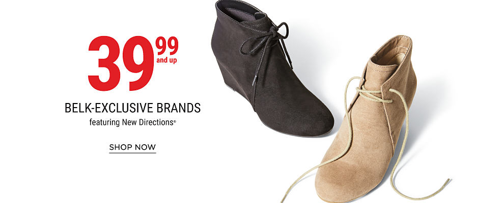 A black suede lace-up bootie & a brown suede lace-up bootie. 39.99 & up Belk-exclusive brands featuring New Directions. Shop now.